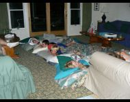 Cousins sleep over in the Great Room