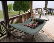Relax south side hammock with kids